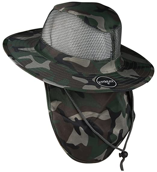Enimay Outdoor Hiking Fishing Snap Brim Hat with Neck Flap 3652 Camo Small 5290c075a6ab