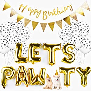 Legendog Dog Birthday Party Supplies Dog Paw Print Balloons Cat Birthday Hat Happy Birthday Banner Foil Balloons Lets Pawty Letters Balloons Decorations