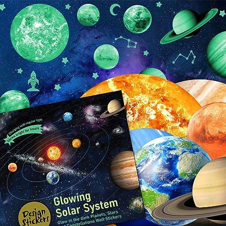 Brillan En Los Planetas Oscuros Pegatinas De Pared Para Niños Decoración Del Espacio Resplandeciente Luna Venus Tierra Marte Mercurio Urano Sol Saturno Neptuno Decoración Gran Espacial Temático Para