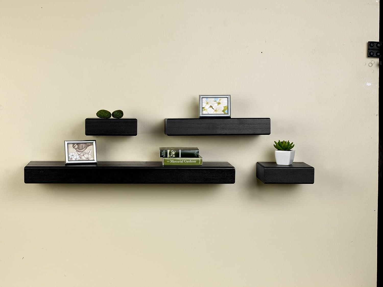 Amazon.com: Melannco Floating Wood Shelves, Set of 4, Black: Home ...