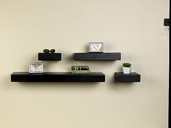 Melannco Floating Shelves Stunning Amazon MELANNCO Floating Wood Shelves Set Of 60 Black Home