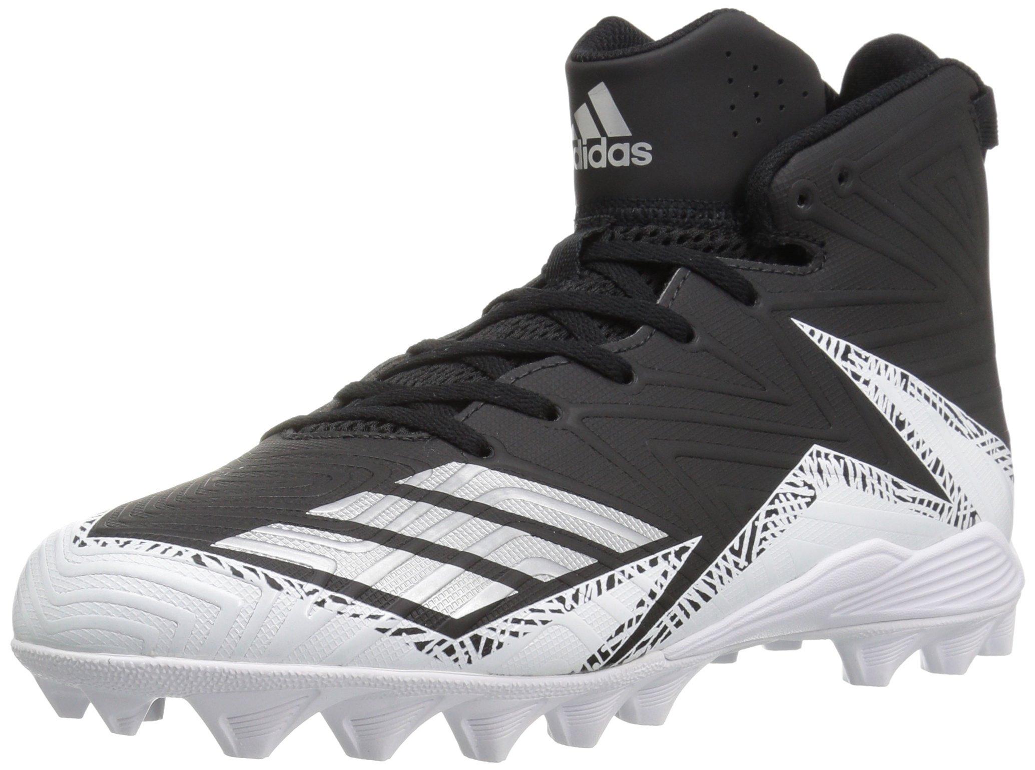 adidas Men's Freak X Carbon Mid Football Shoe, Black/Metallic Silver/White, 14 Medium US
