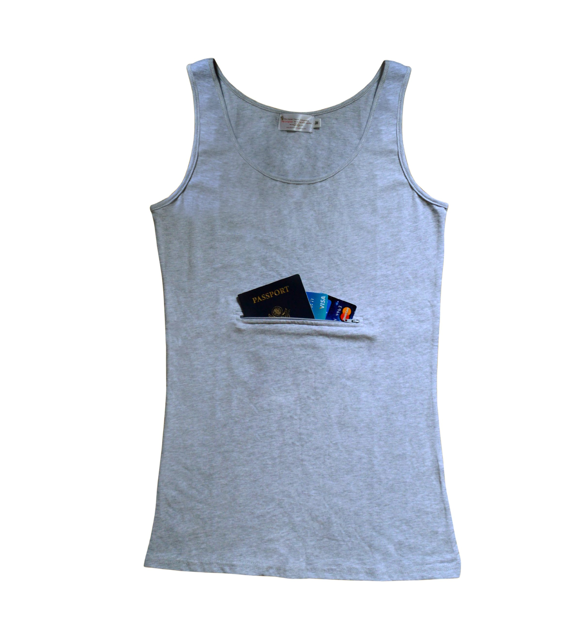Clever Travel Companion Unisex Tank top with secret pocket (Large, Grey)