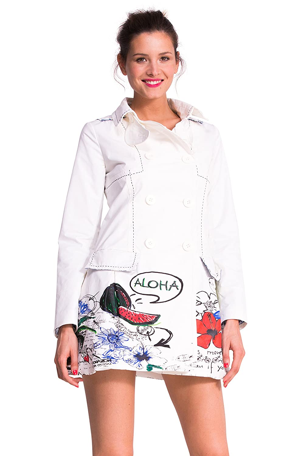 Desigual Women Ing Lo Trench Coat, White (Algodón 1015), 8 UK (Manufacturer Size: 36): Amazon.co.uk: Clothing