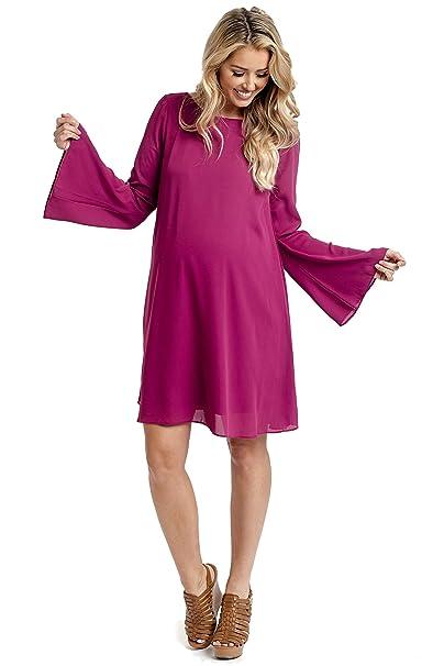 125f7f9496 PinkBlush Maternity Magenta Chiffon Bell Sleeve Maternity Dress ...