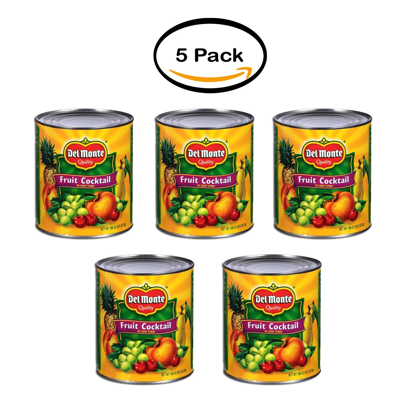 PACK OF 5 - Del Monte Quality Fruit Cocktail In Light Syrup, 106 oz