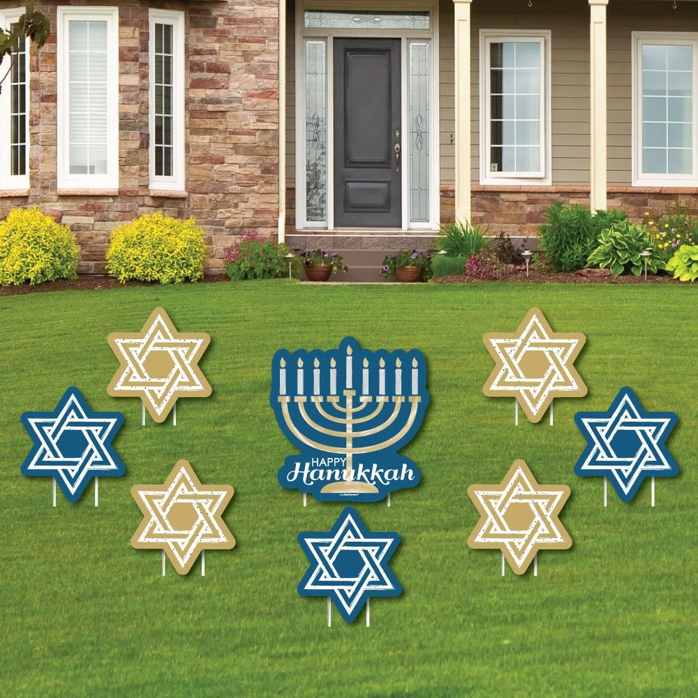Big Dot of Happiness Happy Hanukkah - Yard Sign and Outdoor Lawn Decorations - Chanukah Yard Signs - Set of 8