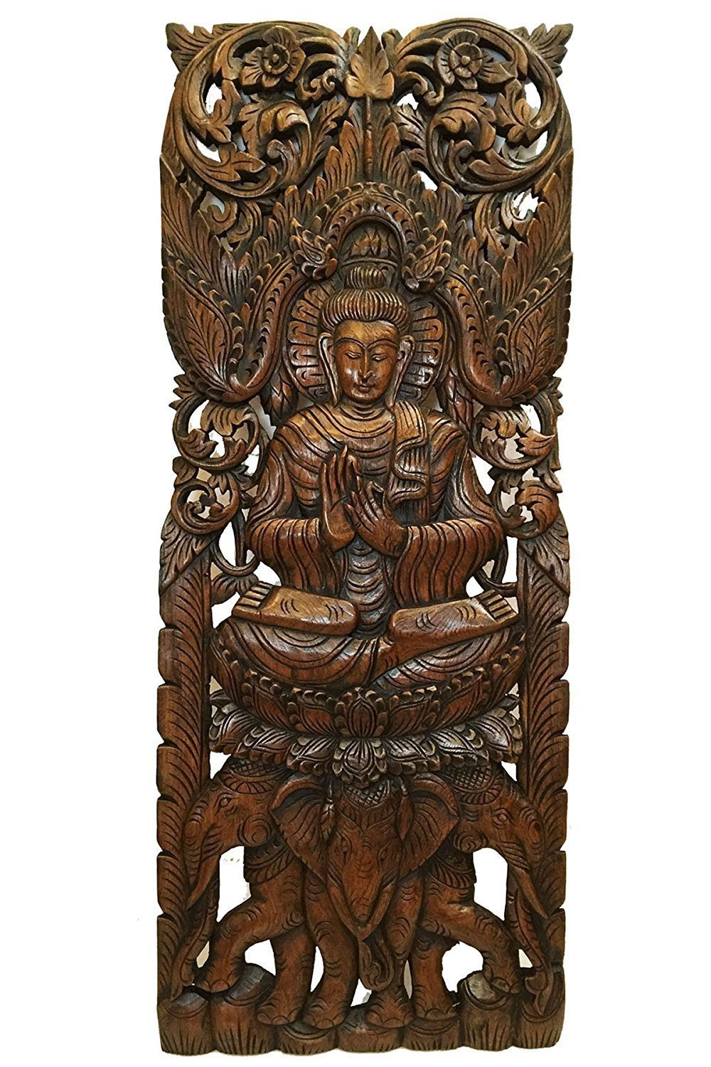 Buddha Thailand Large - Thai Wood Carving Art Wall Home Decor 35.5'' x 13.5'' inces. #P19 by Conserve Brand