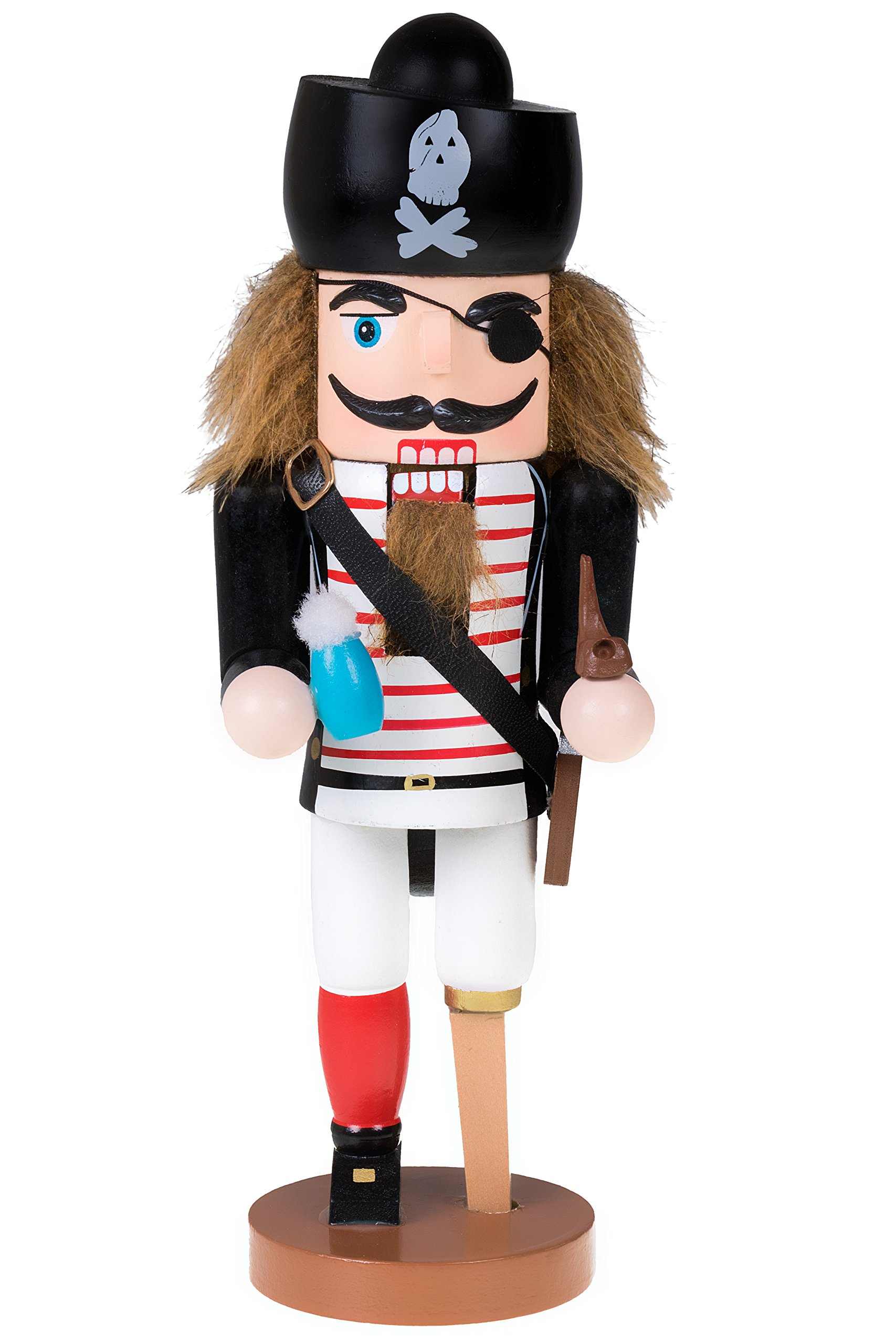 Traditional Wooden Pirate Nutcracker with Peg Leg by Clever Creations | Festive Holiday Décor | 10'' Tall Perfect for Shelves and Tables | Ornate Details | Collectible 100% Wood Figurine