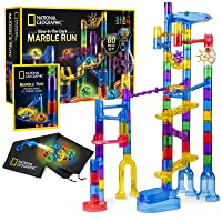 NATIONAL GEOGRAPHIC Glowing Marble Run – 80 Piece Construction Set with 15 Glow in the Dark Glass Marbles, Mesh Storage Bag & Marble Pouch, Great Creative STEM Toy for Girls & Boys
