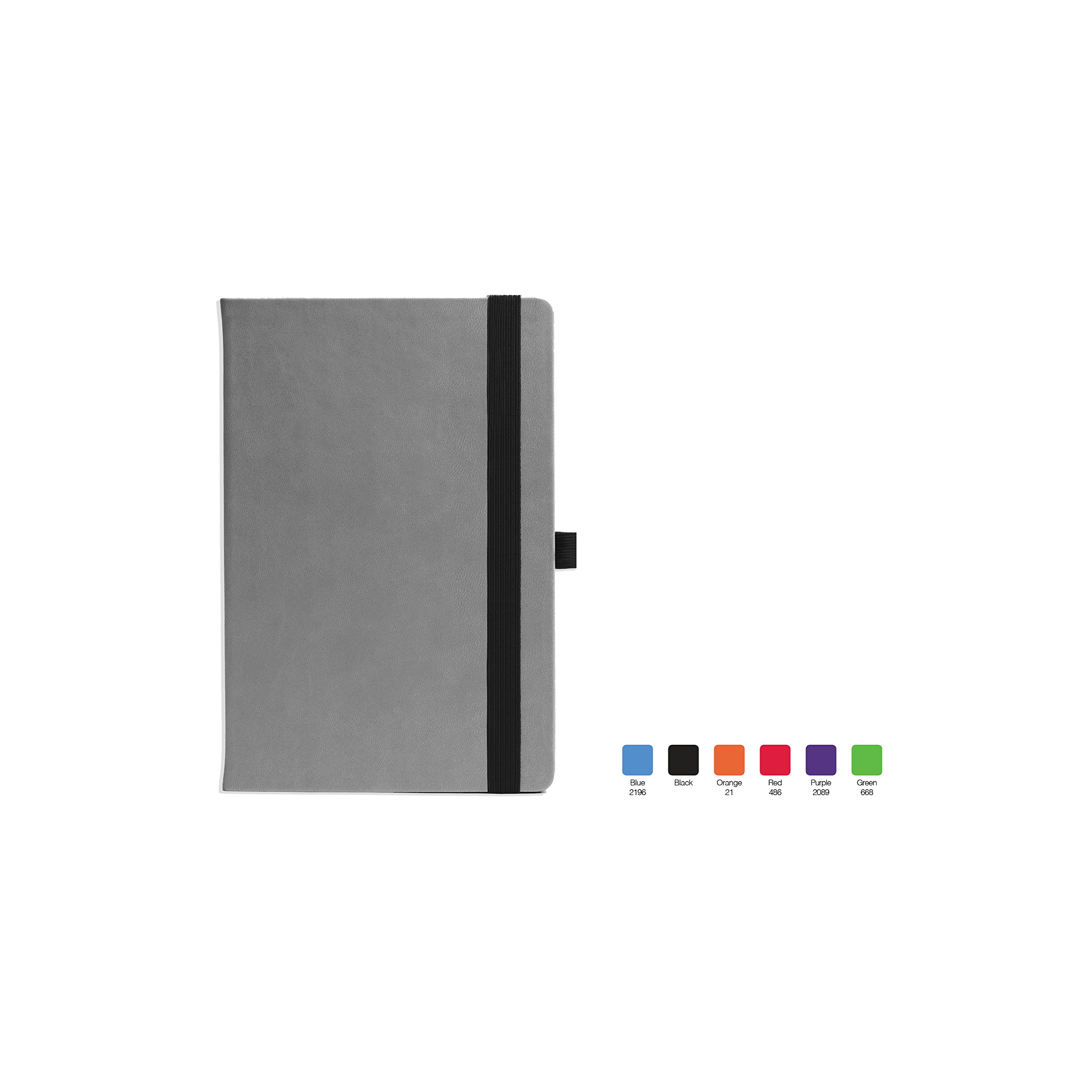SALSA Ruled, Flexicover Executive Notebook Journal with Preimum Paper, 192 Lined Pages, Elastic closure, Pen loop, Imprintable bookmark, Black Accents, Size 5.75'' x 8.5''