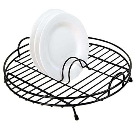 Amazon.com: Delfinware – Escurreplatos circular negro: Home ...