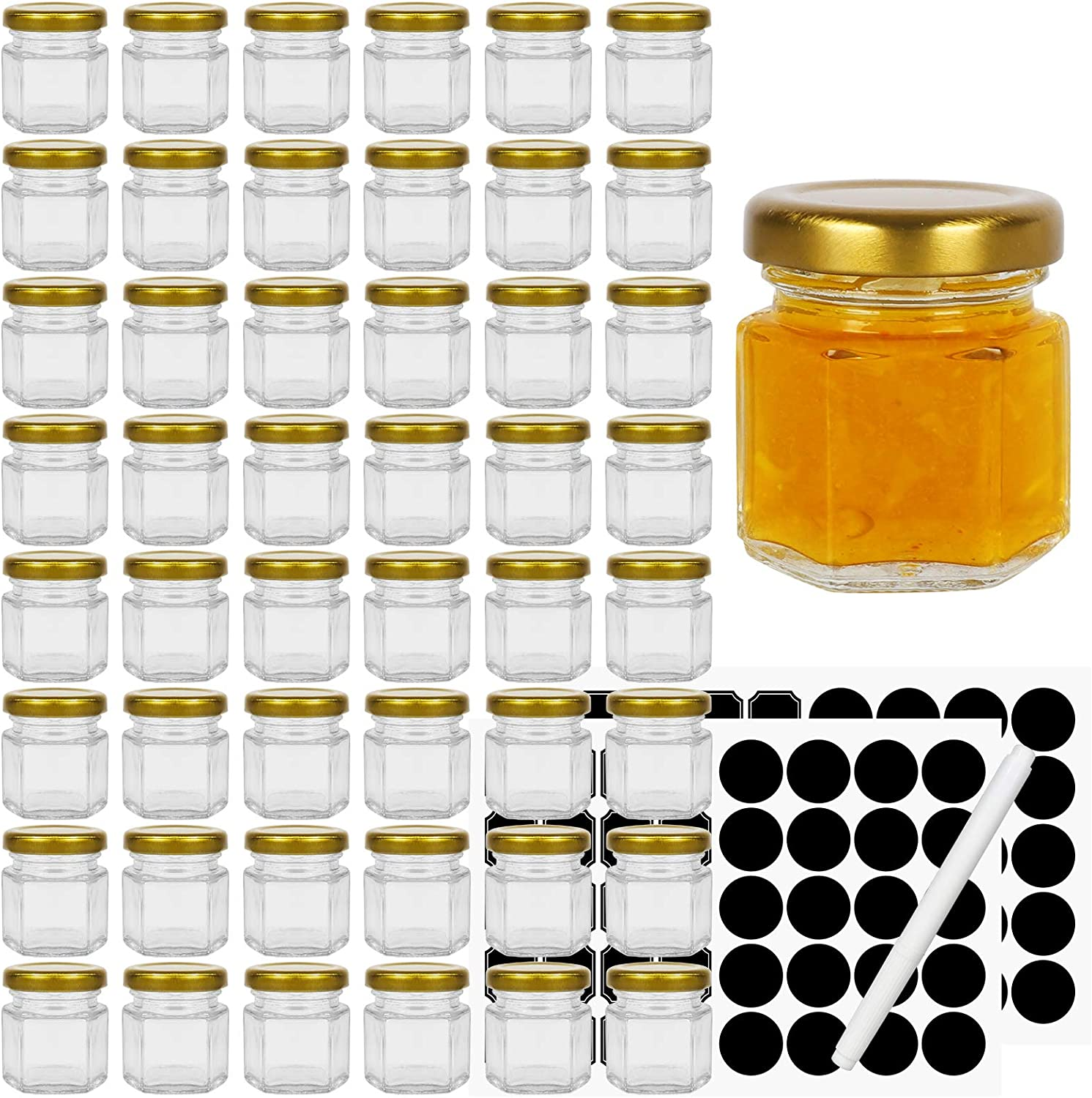 Hexagon Glass Jars with Gold Lids, 48pcs 1.5oz Canning Jars for Jam Honey Jelly Candy Candle Wedding Favors Baby Shower Favors Spice Jars Crafts with 60 chalkboard stickers and one pen for labeling