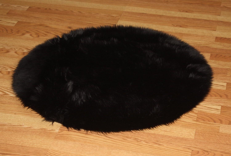 - Amazon.com: Flokati Faux Fur Rugs 3' Round (BLACK): Kitchen & Dining