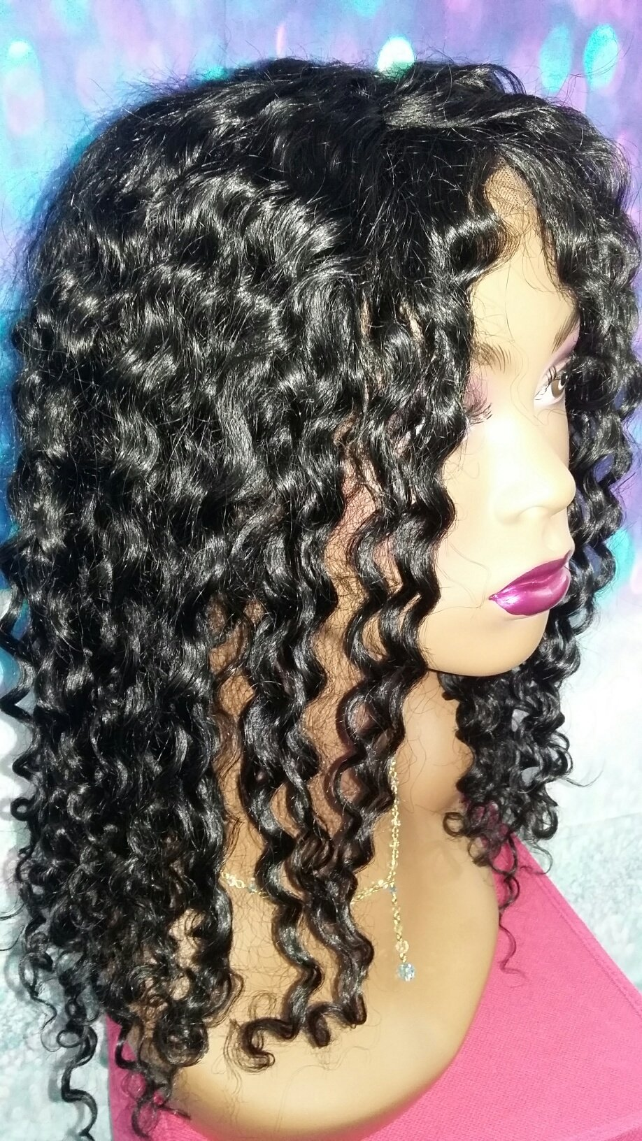 16 INCH INDIAN REMY HUMAN HAIR LACE FRONT FULL WIG GLUELESS DEEP WAVY SMALL