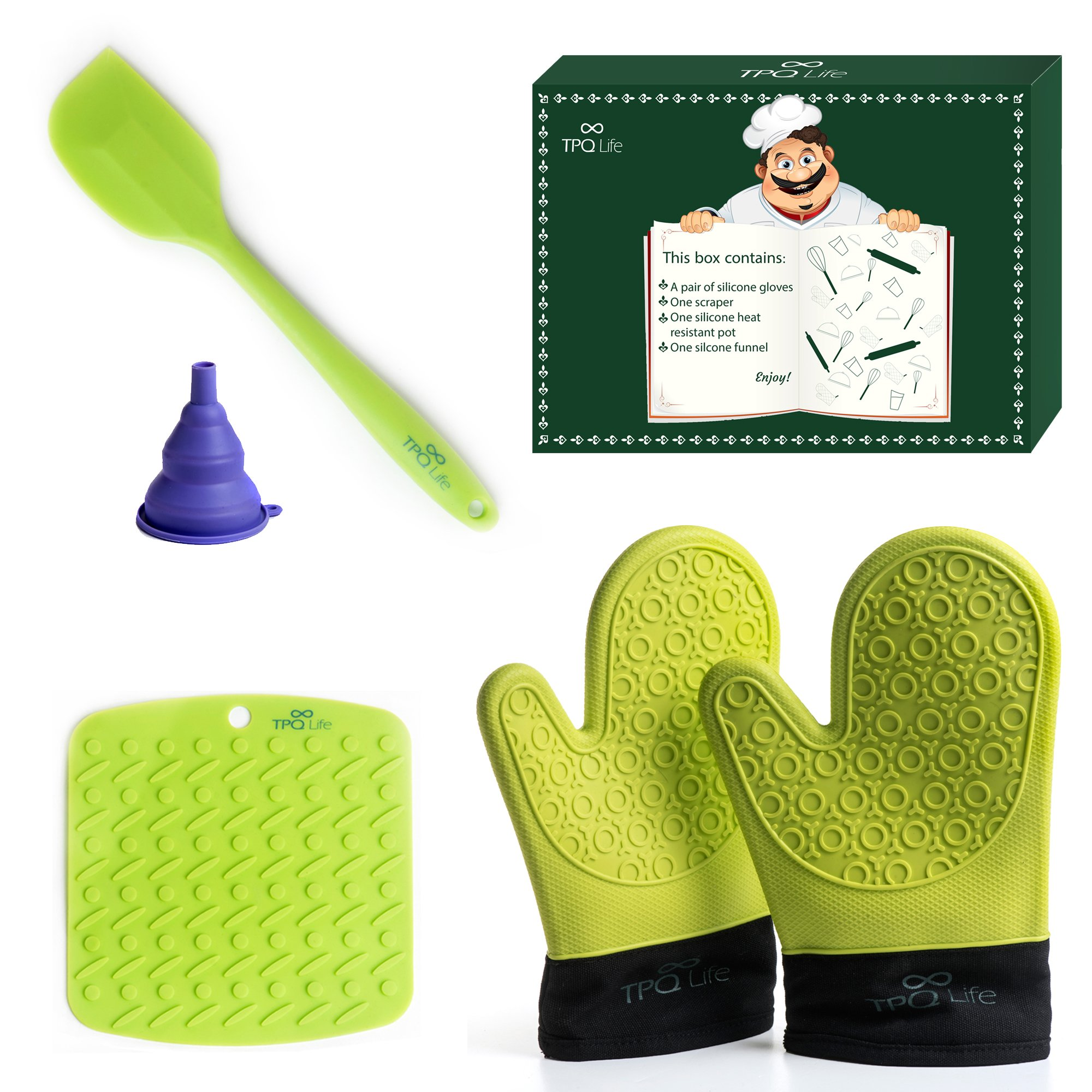 Silicone Oven mitts Pair, Placemat & Spatula Set - 5 Piece Kitchen Ensemble - Top Quality Heat Resistant Non-Slip Oven Mitts, Table/Trivet Mat & Scraper (Green) - BONUS Silicone Funnel by TPQ Life