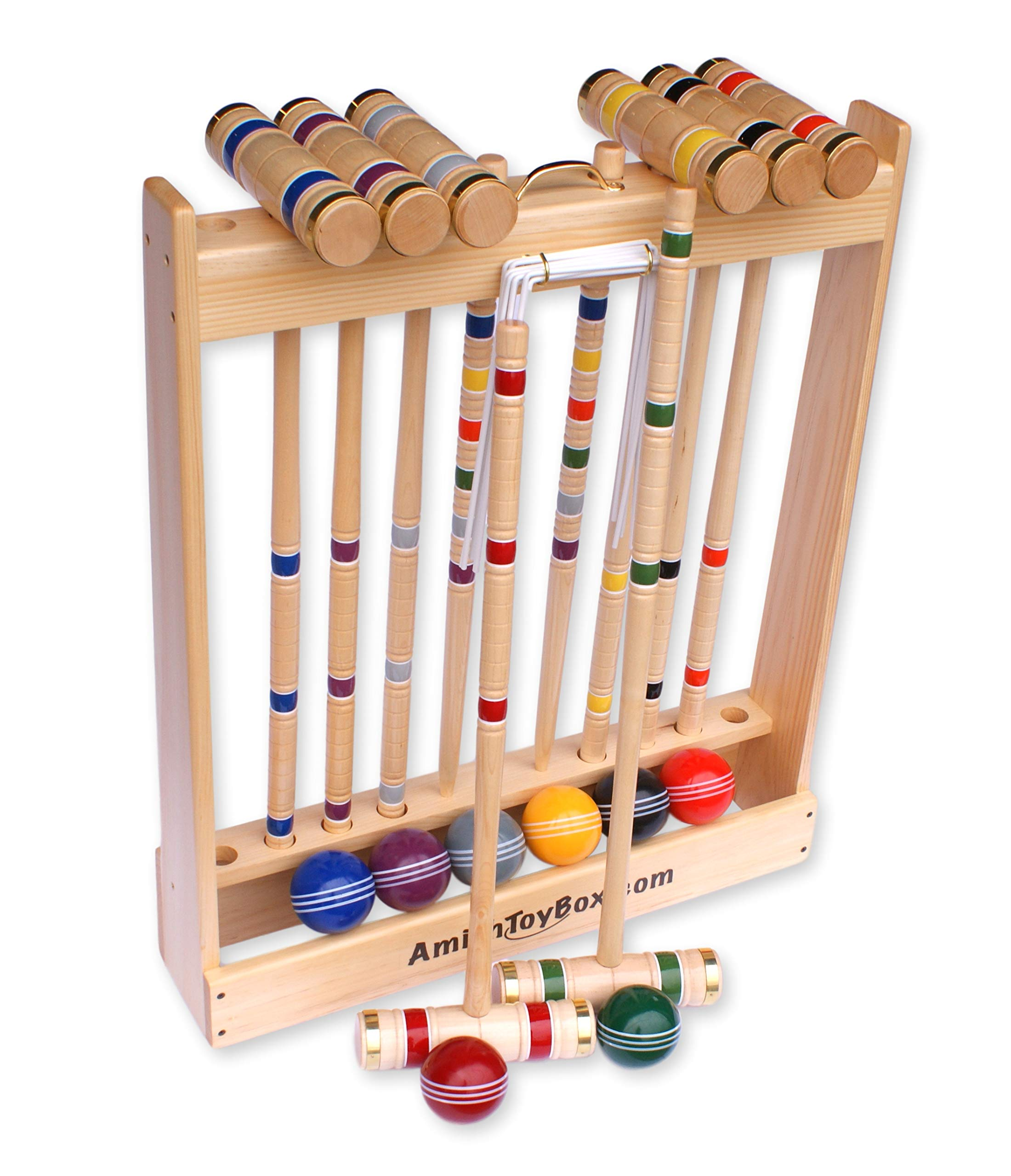 Amish-Crafted Deluxe 8-Player Croquet Game Set, Maple Hardwood (Four 28'' Handles/Four 32'' Handles) by AmishToyBox.com