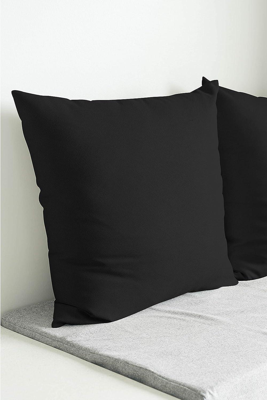 Encasa Homes Fundas de Cojines 2 Piezas (50x50 cm) - Negro - Lona de algodón teñida Forma sólida, Decorativa, Grande y Colorida, Lavable Funda ...