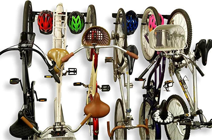 Koova Wall Mount Bike Storage Rack Garage Hanger for 6 Bicycles + Helmets | Fits All Bikes Even Large Cruisers/Big Tire Mountain Bikes | Heavy Duty Powder Coated Steel | Made in USA (6 Bike Rack)