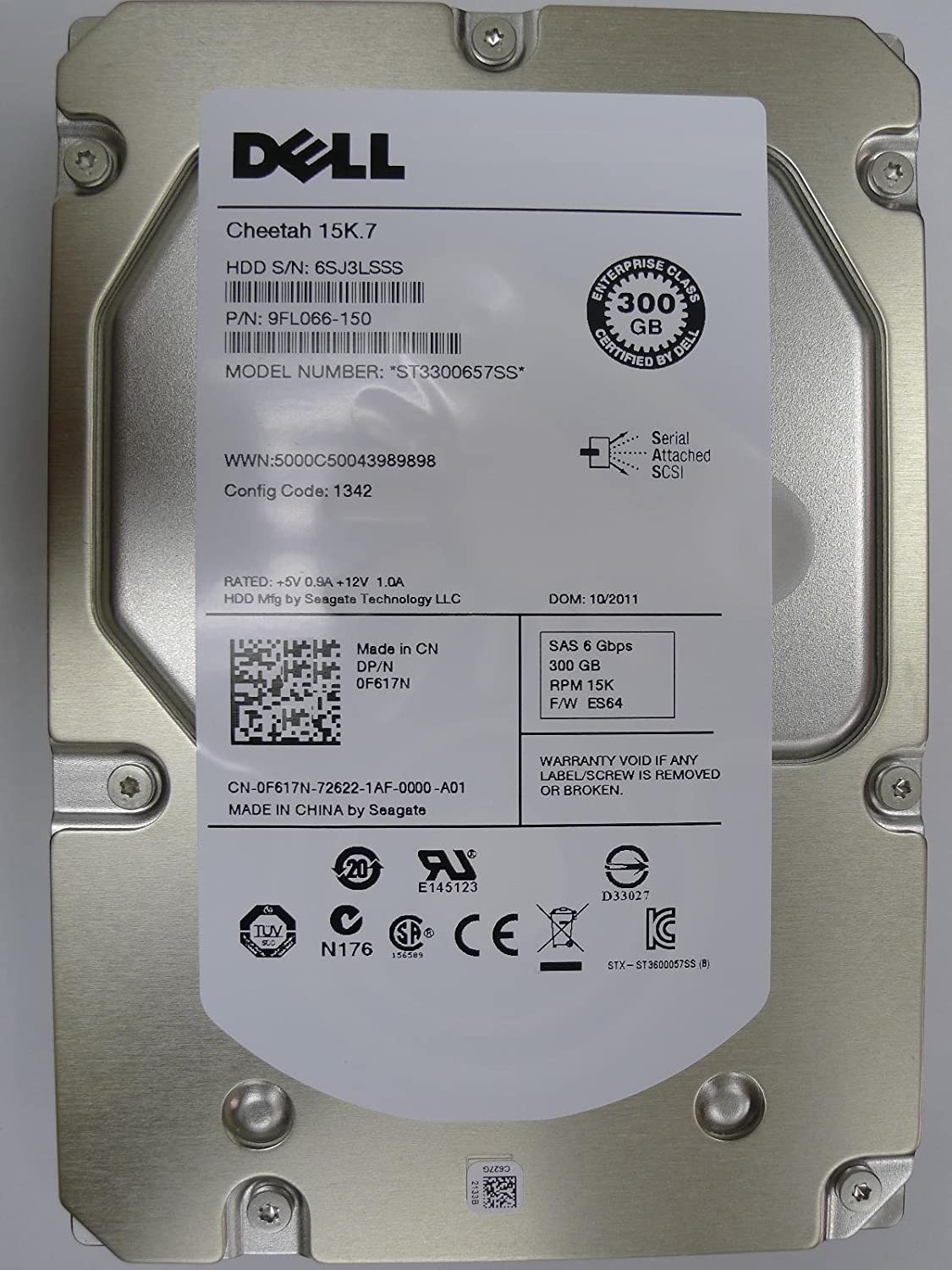 SEAGATE ST3300657SS-DEL Seagate Cheetah 15K.7 ST3300657SS 300GB 15K 6.0Gbps Serial SCSI Dell Labeled Seagate 300GB 3.5 15K RPM SAS Hard Drive ST3300657SS
