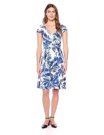 7373c19e539a Maggy London Women's Short Sleeve Jersey Wrap Dress, Soft White/Blue, ...