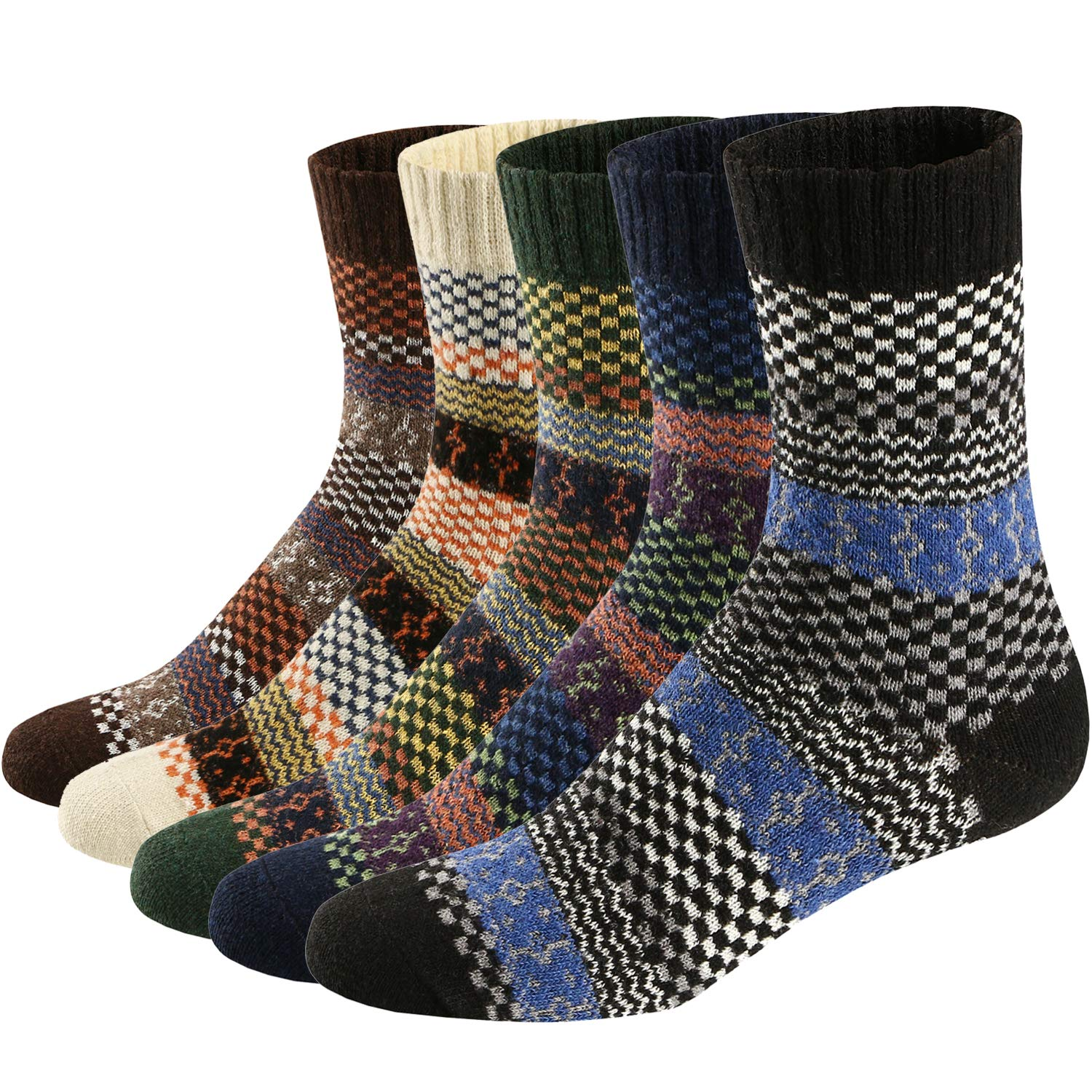 Mens Thick Knit Warm Casual Wool Crew Winter Socks for Men or Women Color 1 (5 Pairs))