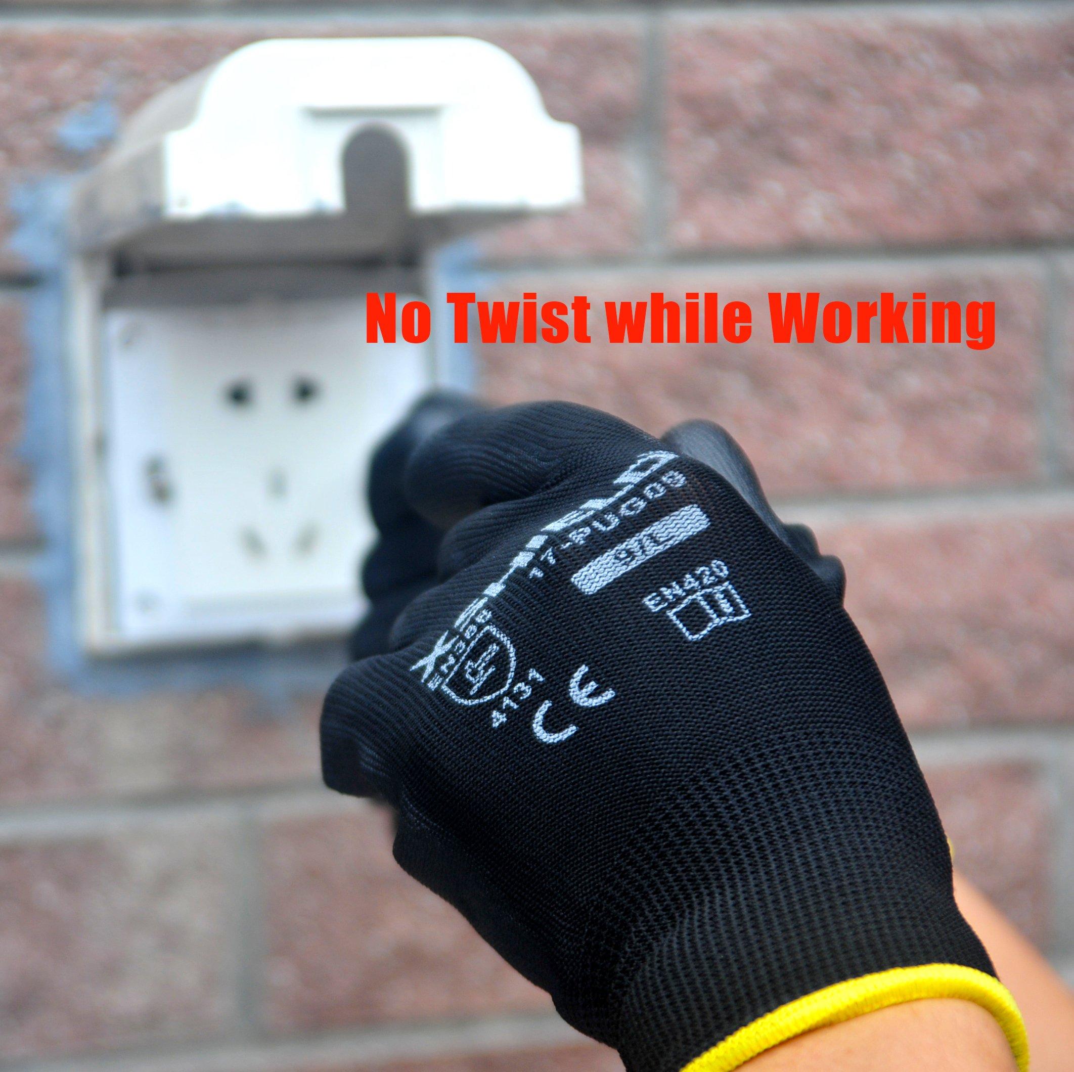 XSHIELD 17-PUG,Polyurethane/Nylon Safety WORK Glove,BLACK,12 Pairs (Large) by XSHIELD (Image #2)