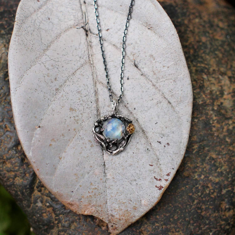 J MENG Vintage Opal Necklace Oxidized Retro Silver Sneck Leaf Flower Stone Punk Antique Pendant Necklace