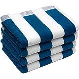 S Kumars Love Touch Striped 4 Piece 430 GSM Cotton Hand Towel Set - Blue