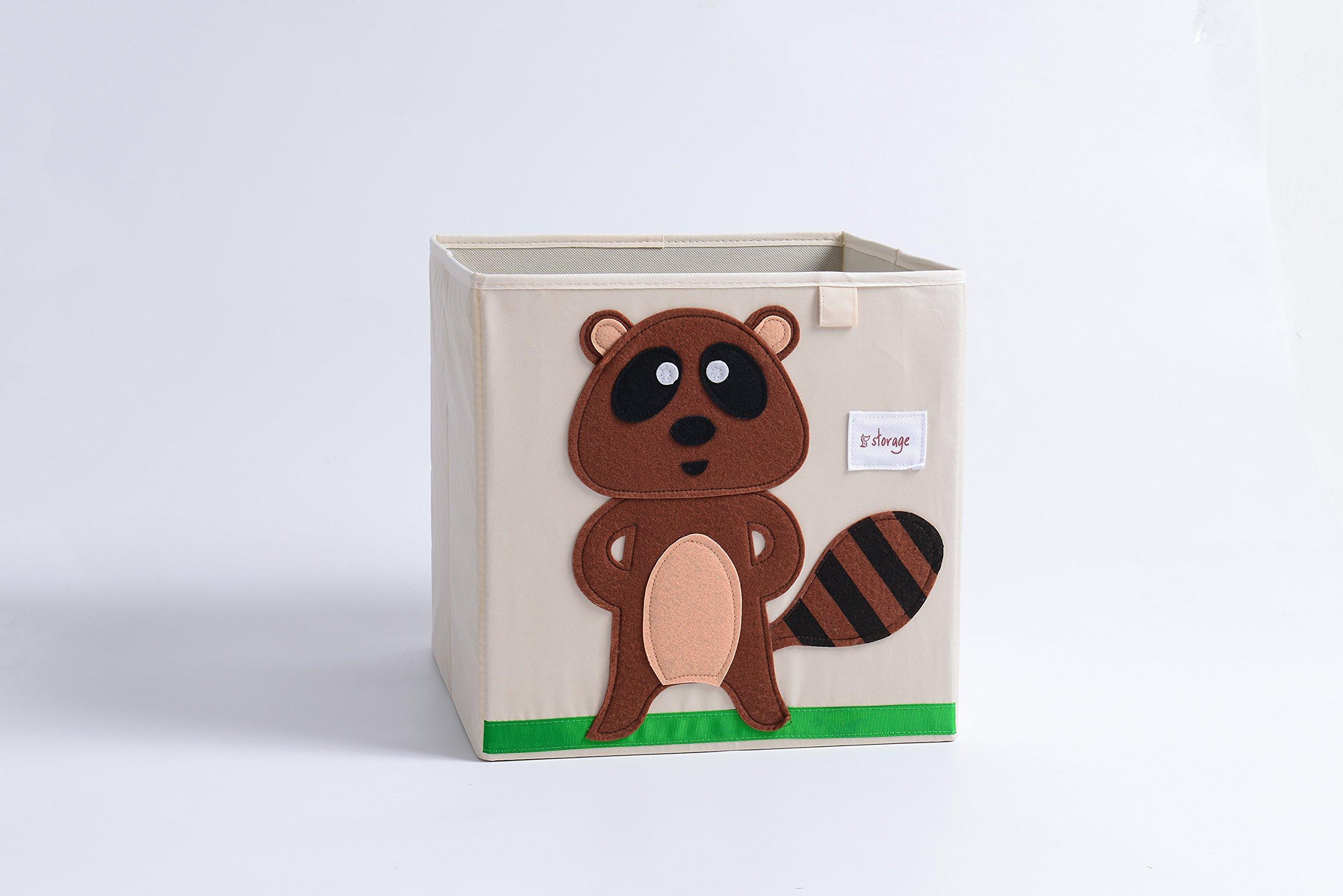 Animal Storage- 13 x 13 x 13'', Collapsible,Storage Toy Box for Kids,Cartoon Theme New Design (Raccoon)
