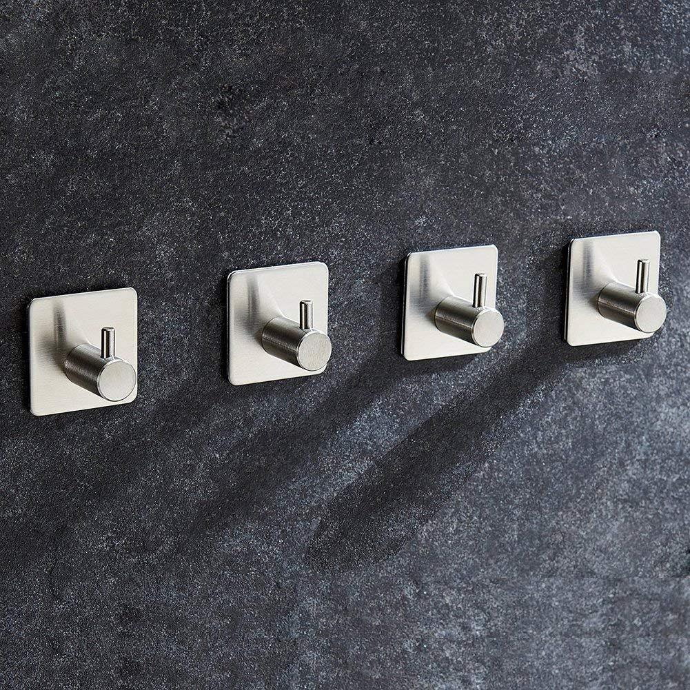 Aikzik Haken Selbstklebende Handtuchhaken ohne Bohren Edelstahl Handtuchhalter Selbstklebend Wandhaken Bademantelhaken Klebehaken f/ür K/üche und Badzimmer 6 St/ück