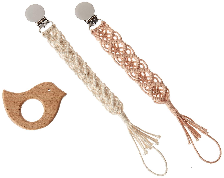 Amazon.com: Chupete de macramé con clip y pájaro de madera ...