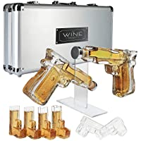 Pistol Whiskey Gun Decanter & Pistol Shot Glasses Set - Comes with A large Carrying Case - Drinking Party Accessories, Great Gift!