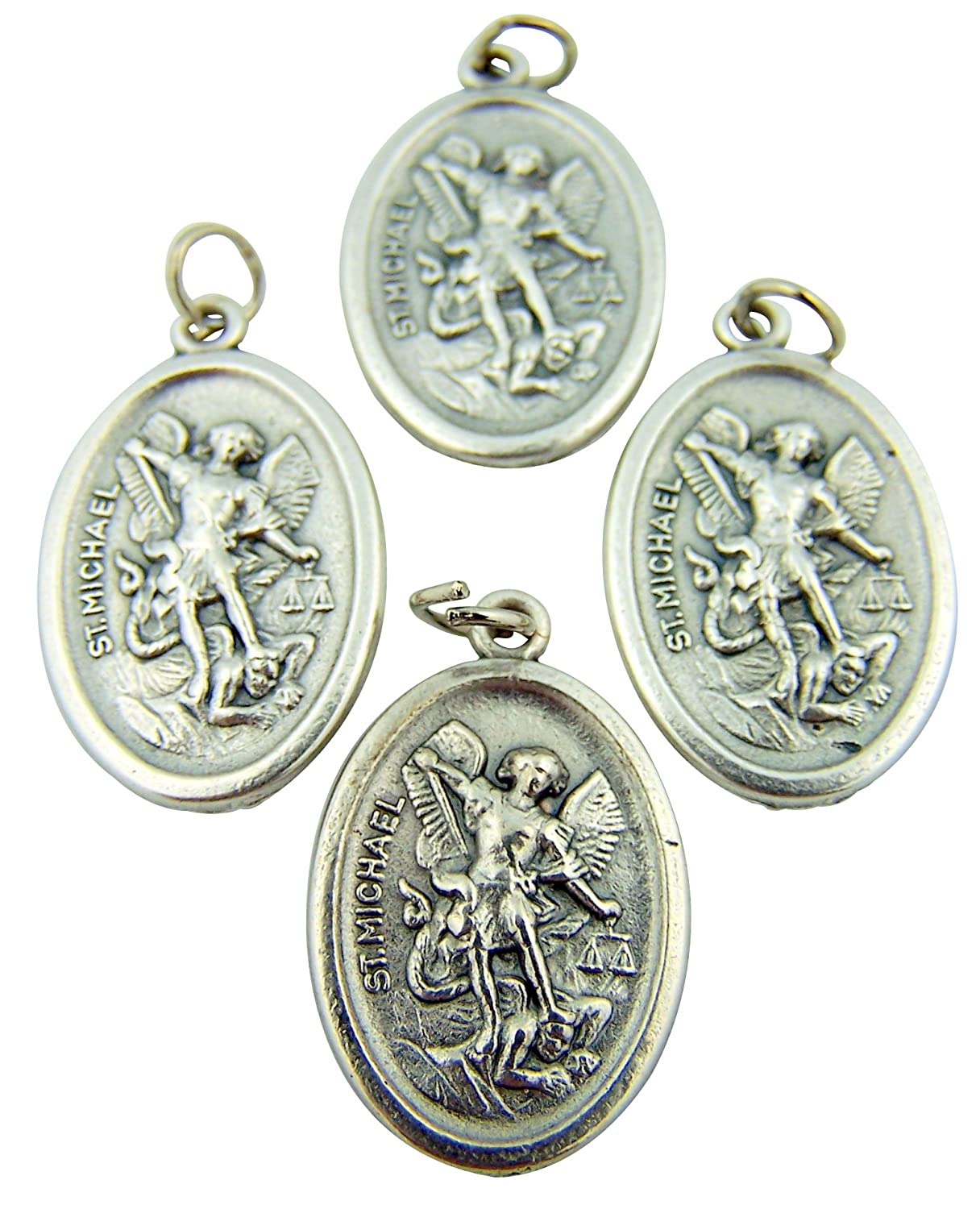 Religious Gifts Lot of 4 Silver Tone Archangel Saint Michael with Angel Back Medal
