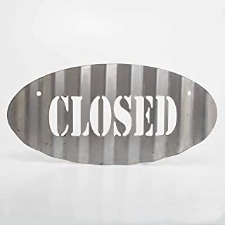 product image for Oval Open or Closed Sign Vintage Plasma Cut Corrugated Steel Hand Restroom Sign Rustic Metal Sign Restaurant Home Shop Wall Bathroom Sign (1, CLOSED)