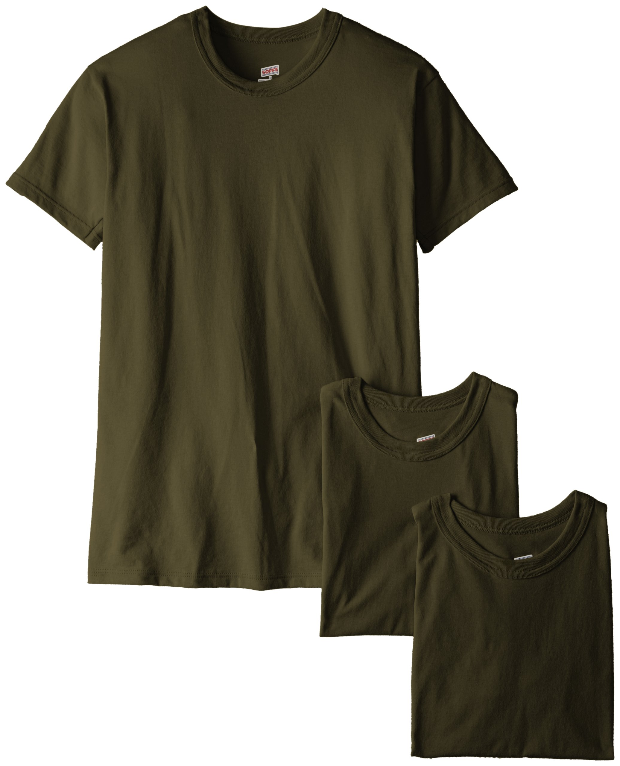 Soffe Men's 3-Pack Short Sleeve Crew Neck Military T-Shirt, Olive Green, Small