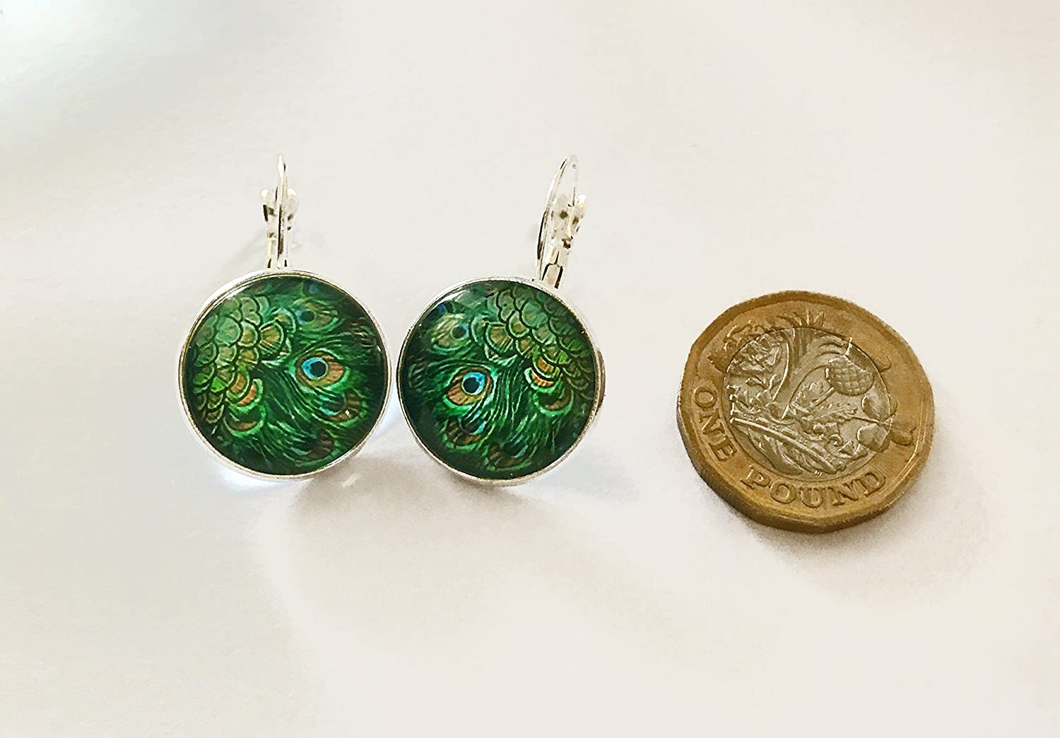 Vintage Style Green Peacock Glass Silver Cabochon Hoops Drop Earrings E1236 nWFRnxxSk