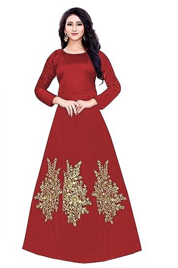 I-Brand Women s silk Anarkali Kurta ISUNSG48 Maroon Free Size  Amazon.in   Clothing   Accessories b791a45df2