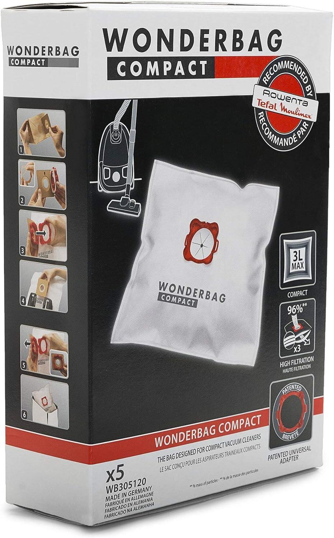Rowenta Wonderbag Compact WB305120 - Pack de 5 bolsas para aspiradora, universal para aspiradores con una capacidad de 3 L, máx. filtración al 96 % de micropartículas