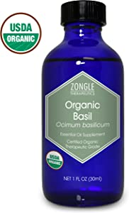 Zongle USDA Certified Organic Basil Essential Oil, Safe to Ingest, Ocimum Basilicum, 1 OZ