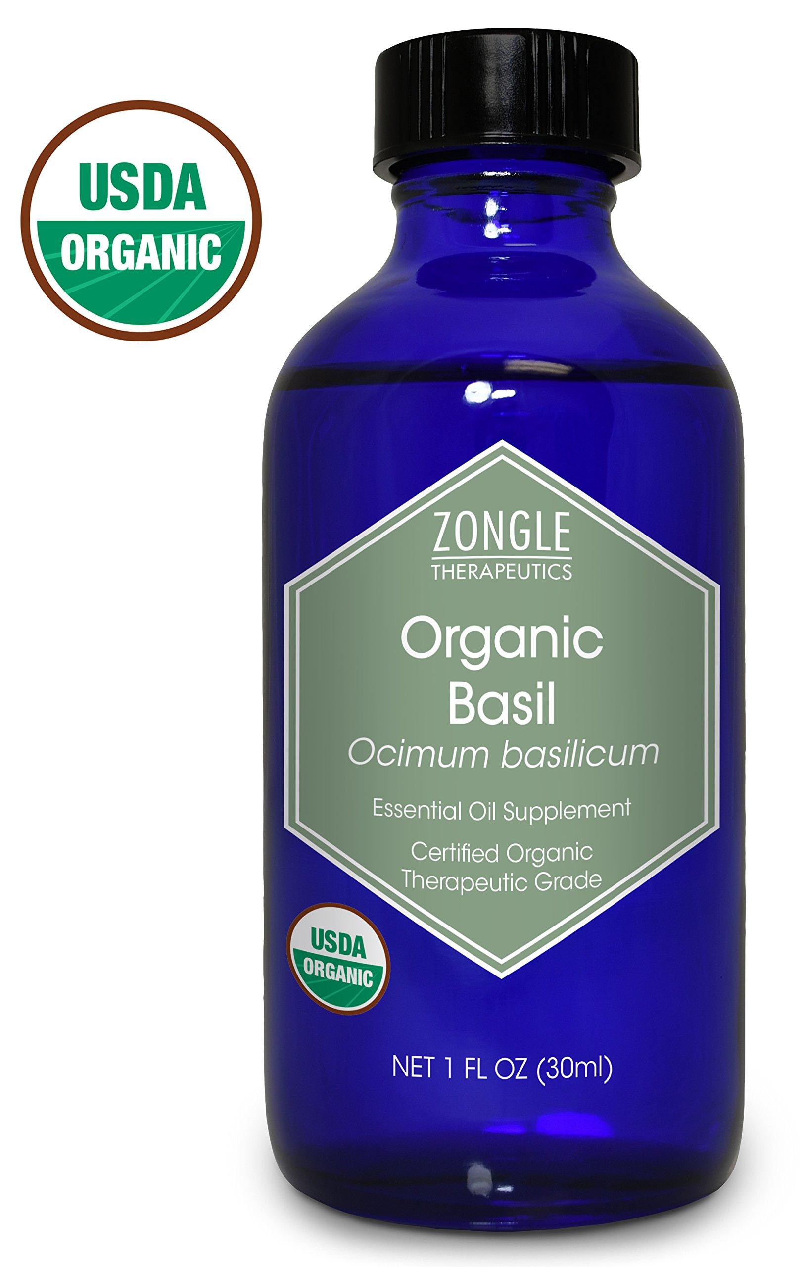 Zongle USDA Certified Organic Basil Essential Oil, Safe to Ingest, Ocimum Basilicum, 1 oz
