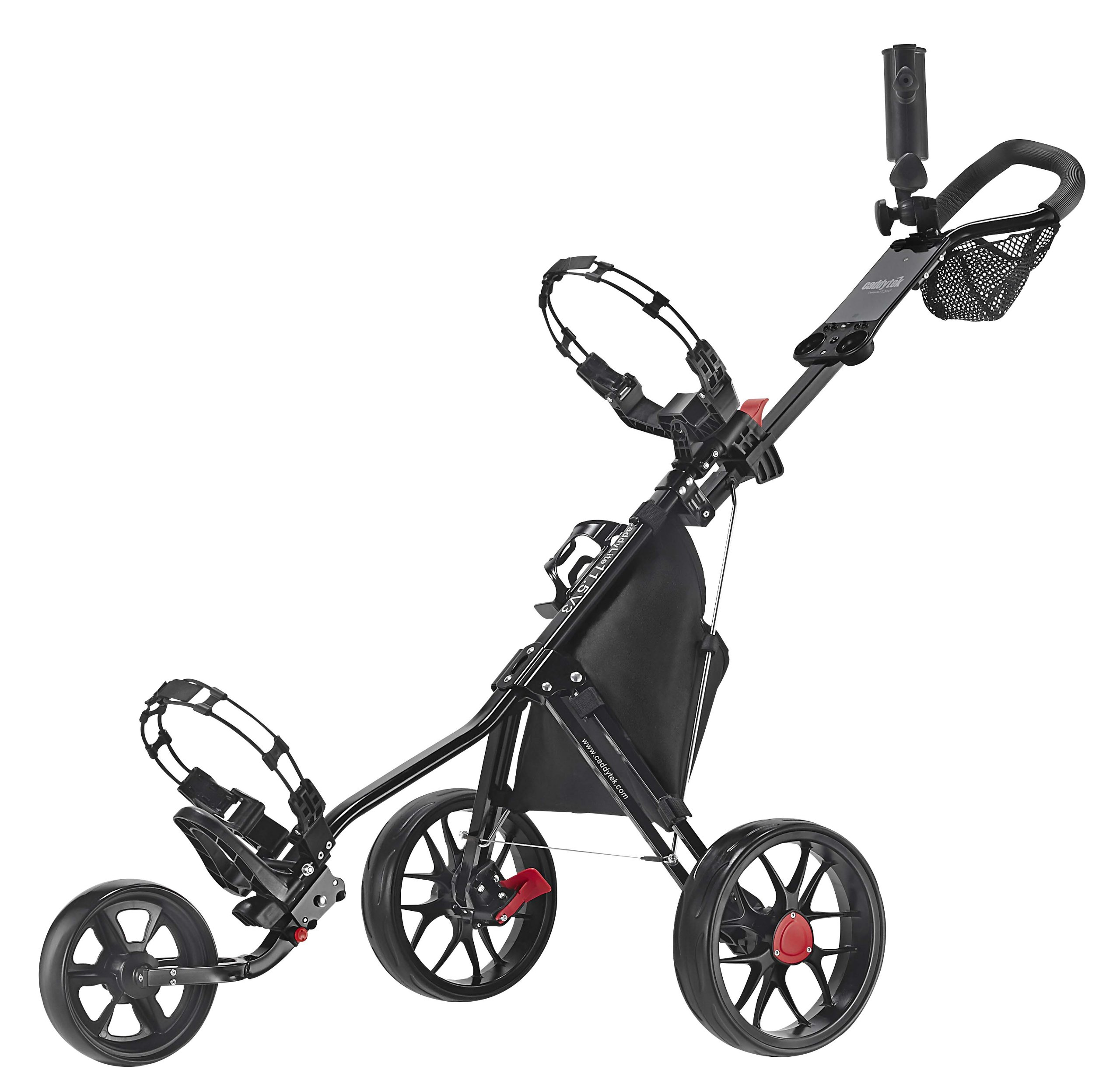 CaddyTek Deluxe 3 Wheel Golf Push Cart Version 3, CaddyLite 11.5 V3-Black by CaddyTek