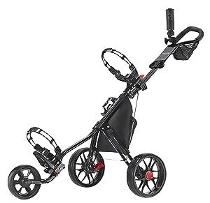 CaddyTek Deluxe 3 Wheel Golf Push Cart