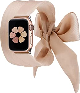 Wearlizer Compatible with Apple Watch Bands Scarf 38mm 40mm for iWatch Band Women Girls Fashion Scarf Band Replacement Wrist Strap for Apple Watch SE Series 6 5 4 3 2 1 - Beige