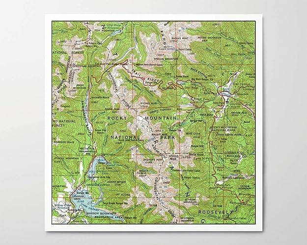 Amazon.com: 1960s Rocky Mountain National Park Map, Archival ...