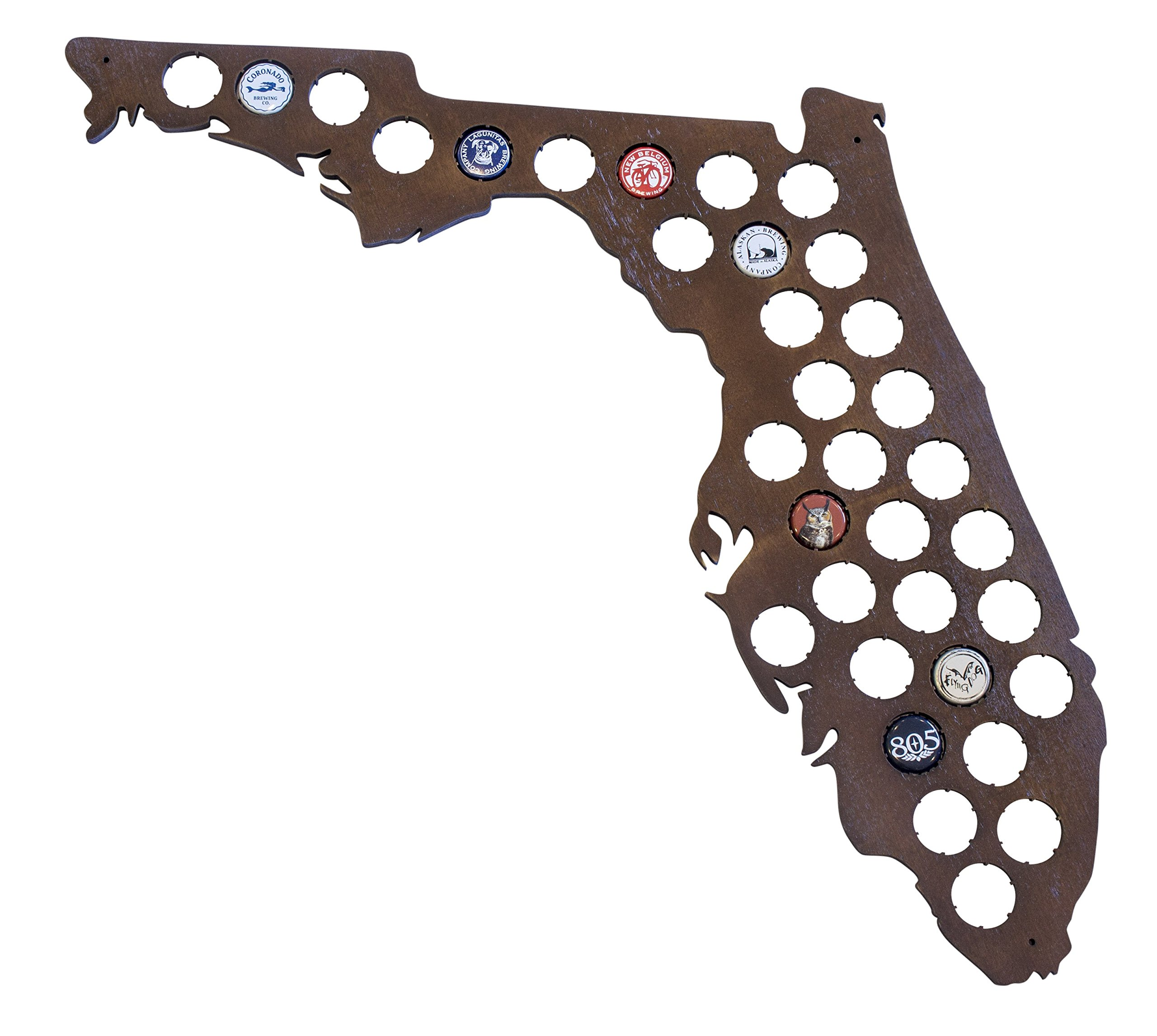 Florida Beer Cap Map - Holds Craft Beer Bottle Caps - Perfect FL Gift for Guys Brother Dads and Grads (Dark Stain) by Beer Cap Country