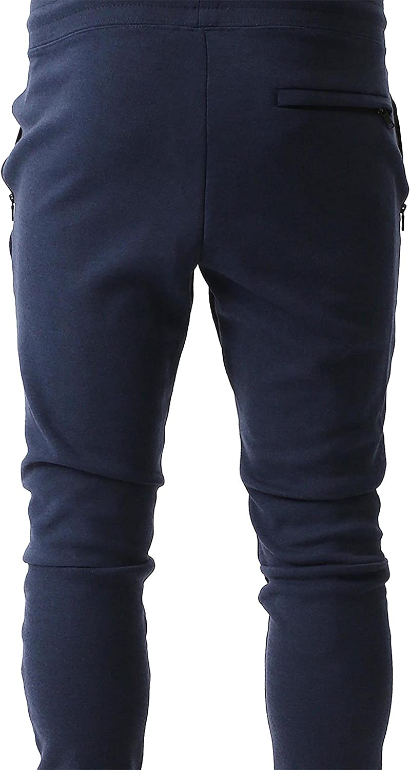 Ma Croix Mens Modern Jogger Pants with Zipper Pockets Slim Fit Casual Fleece Basic Active Sweatpants