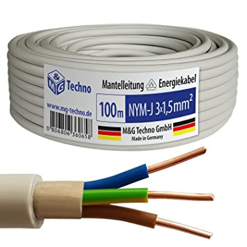 Top 100m NYM-J 3x1,5 mm² Mantelleitung Elektro Strom Kabel OFC MADE IN OV48