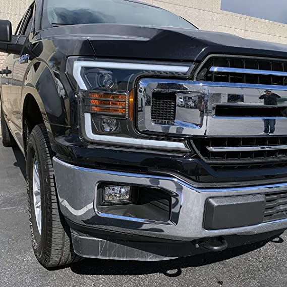 Led Headlights For F150 >> Modifystreet Black 18 19 Ford F150 Halogen Type Led Tube Dual Projector Headlights With Switchback Drl Sequential Signal Activation Light