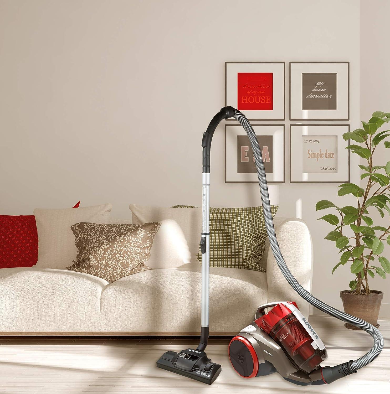 Hoover - Khross KS50PET- Aspirador Trineo sin Bolsa, Depósito 1,8L, Nivel Ruido: 78dBA - Filtros EPA - Color: Marrón, Rojo y Gris